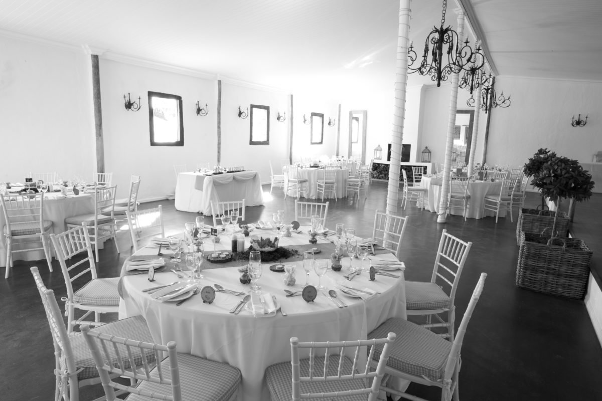 wedding reception in black and white