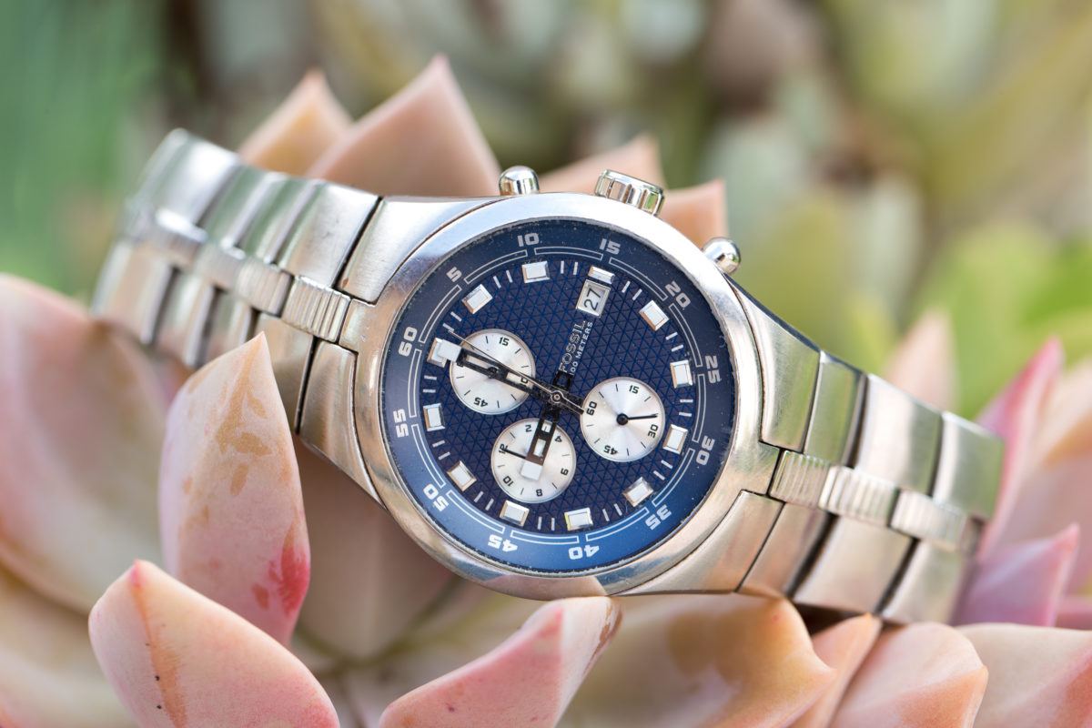 Close up picture of the grooms watch on a succulant