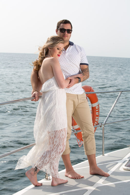 The were plain sailing and enjoying their engagement