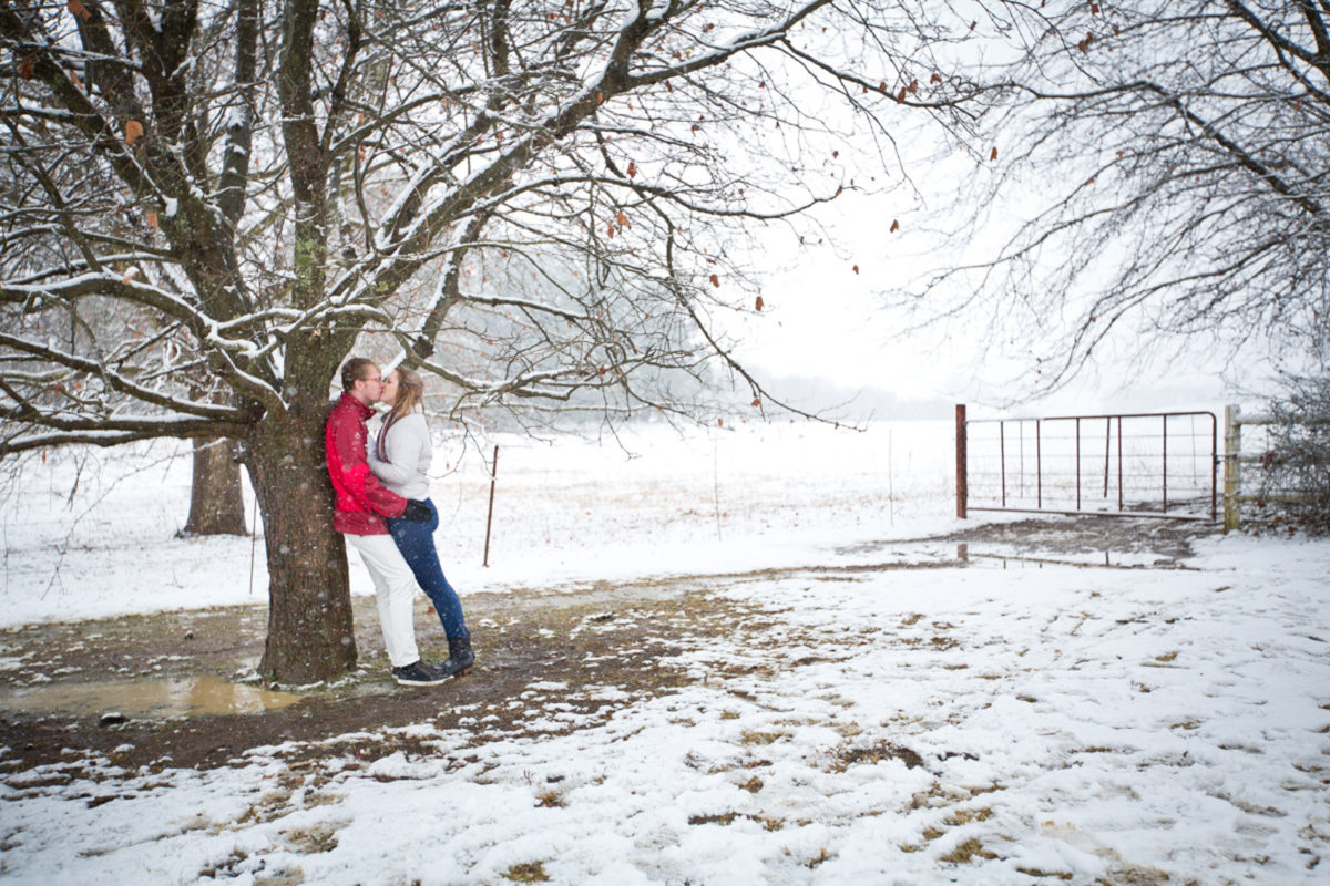 A beautiful snowy landscape image for their engagement shoot
