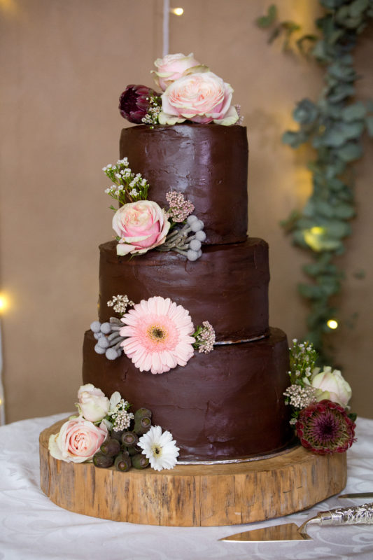Beautiful chocolate mousse cake at the wedding