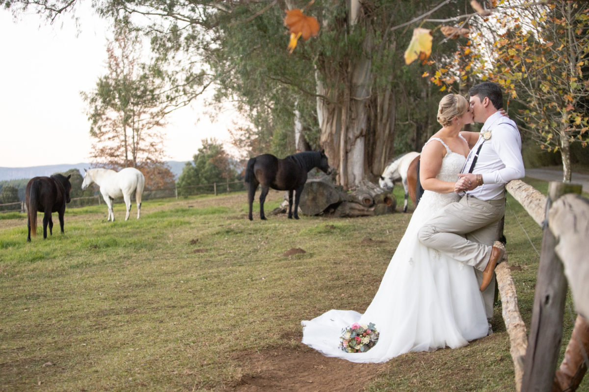 Cranford Country Lodge Bride and groom with horses