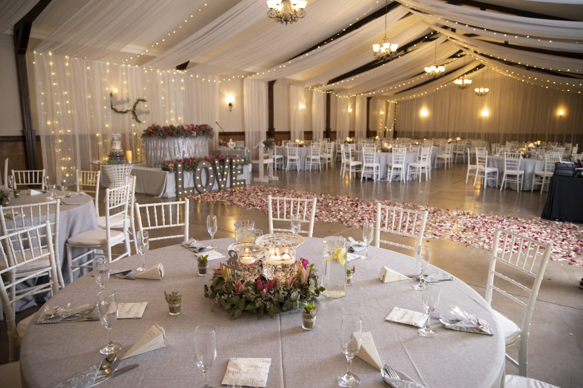 the beautiful evening reception at a Waterwoods Wedding