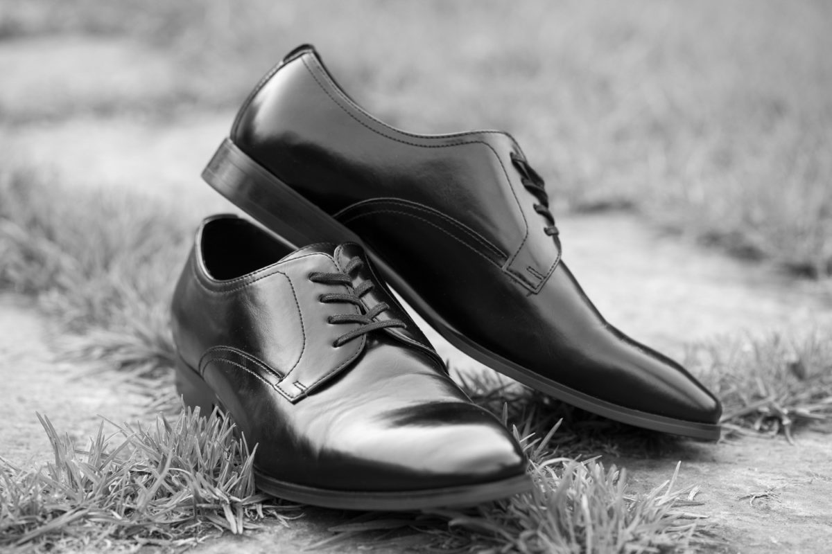 The Grooms Shoes at a Waterwoods Wedding